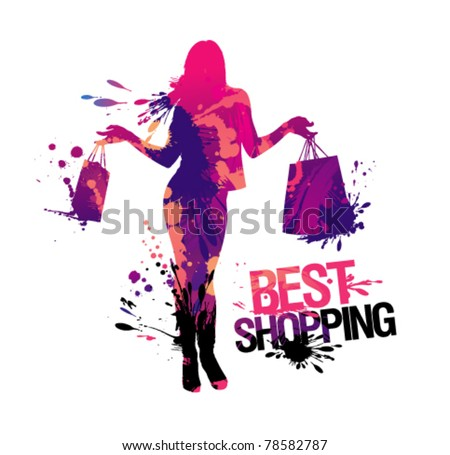 Shopping woman silhouette.Best shopping, vector illustration with splashes. - stock vector