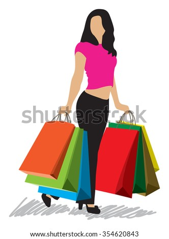 shopping woman with shopping bags  - stock vector