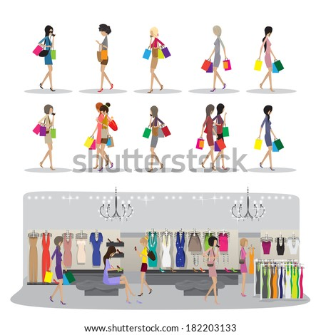 Shopping Women - Isolated On White Background - Vector Illustration, Graphic Design Editable For Your Design - stock vector