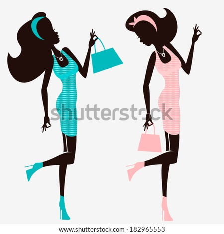 Shopping women silhouettes isolated on white background/ Retro style - stock vector