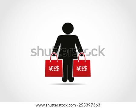 Shopping Women Stuff Addict - stock vector