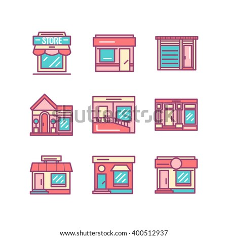 Shops buildings and architecture icons sings set. Thin line art icons. Flat style illustrations isolated on white. Line icons for design projects. - stock vector