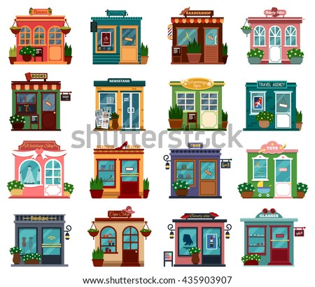 Shops or markets view with bushes for buying bouquet or flavor, cloth or books. Flowers and music, barbershop and beauty salon, boutique and newsstand, massage spa and travel agency, wedding and shoes - stock vector
