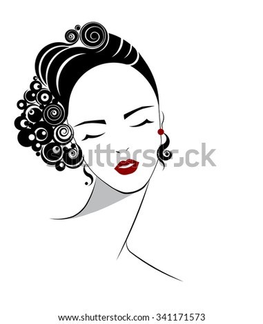 short hair style icon, logo women face and red lip on white background, vector - stock vector