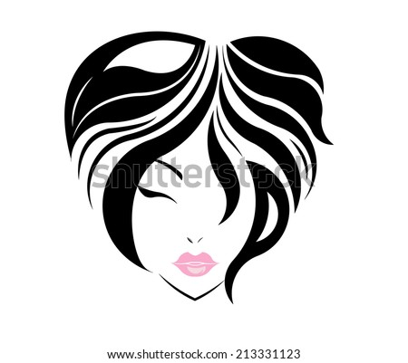Short hair style icon, logo women face on white background. - stock vector