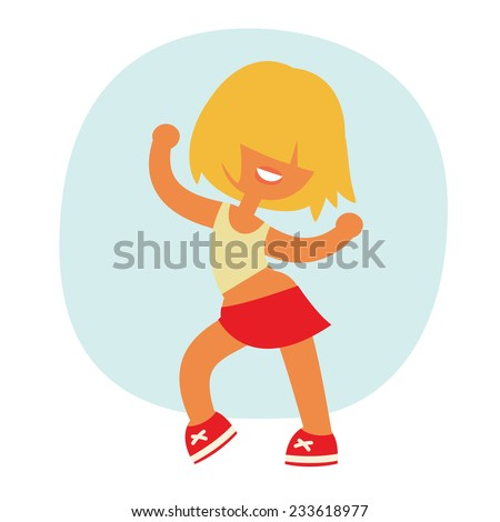 short hairstyle funny cartoon sporty beautiful smiling dancing teenager girl character. Without outline, cartoon flat vector illustration set.  - stock vector
