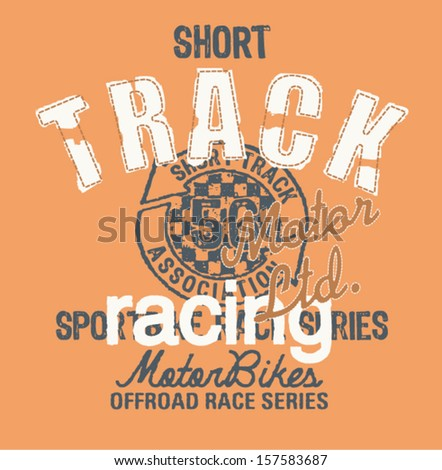Short track racing - Vintage artwork for t shirt in custom colors - stock vector
