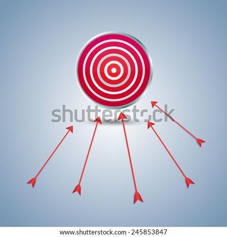 shot of darts in bullseye on dartboard - stock vector
