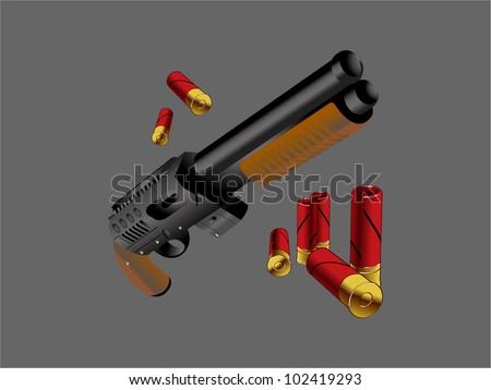 shotgun cartoon - stock vector