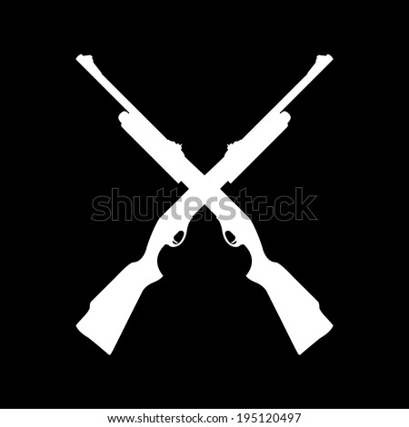 Shotgun Silhouette Icon Isolated on Black Background - stock vector