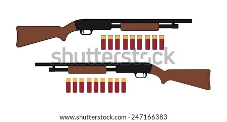 Shotgun with bullets. Game resources. Vector clip art color illustration isolated on white - stock vector