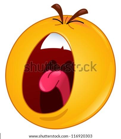 Shouting emoticon - stock vector
