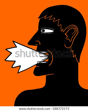 shouting man - stock vector