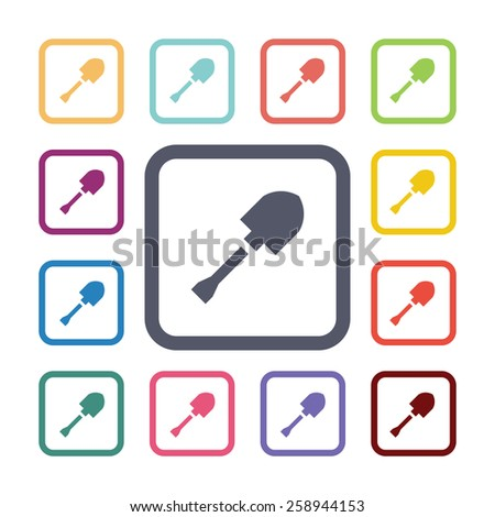 shovel flat icons set. Open round colorful buttons. Vector  - stock vector