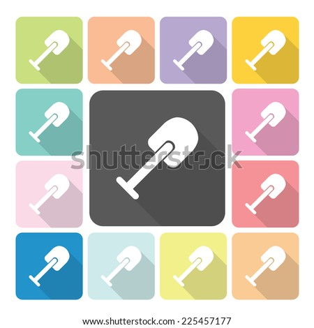 Shovel Icon color set vector illustration. - stock vector