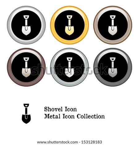 Shovel Icon Metal Icon Set - stock vector