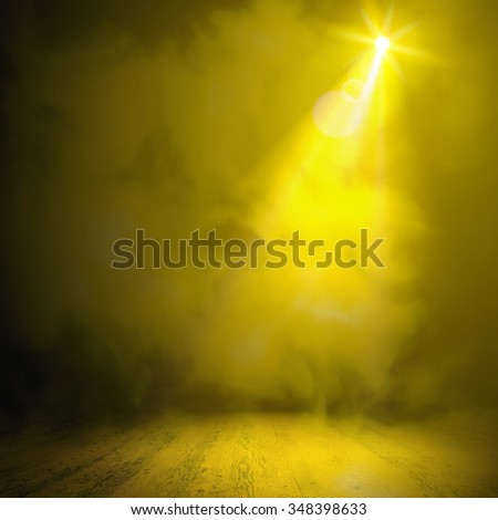 Show background. Smoky vector stage interior shining with light from a projector - stock vector