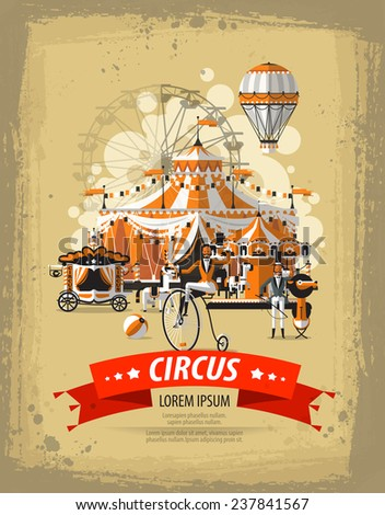 Show. Circus in town. Vector illustration - stock vector