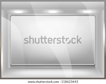 Showcase in the shop - stock vector