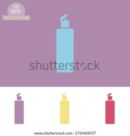 Shower Gel, Liquid Soap, Lotion, Cream, Shampoo, Bath Foam. Vector icon. - stock vector