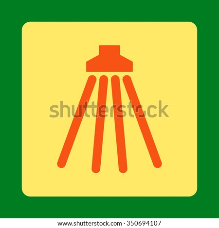 Shower vector icon. Style is flat rounded square button, orange and yellow colors, green background. - stock vector