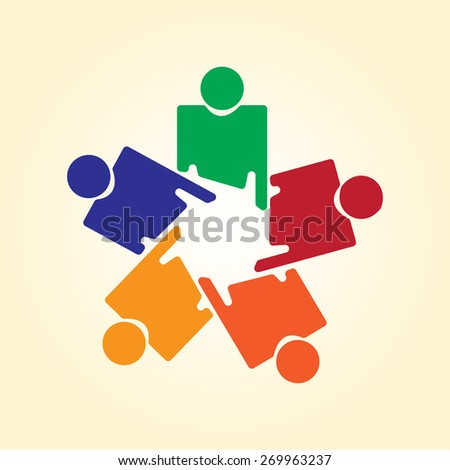 Showing companionship and friendship vector. The graphic can also represent employees unity, workers union, executives meeting, friendship, team work & team spirit - stock vector