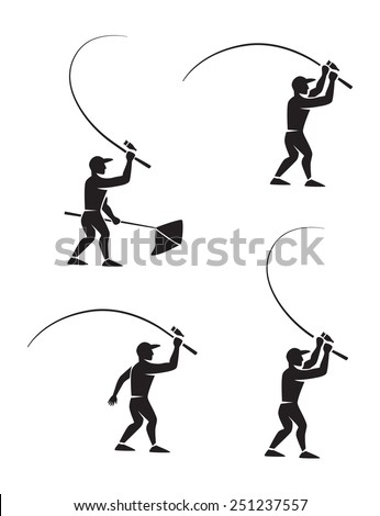Shown fisherman with a fishing rod - stock vector