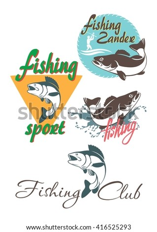 Shown on perch fishing logo - stock vector