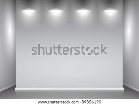 showroom with empty walls and light - stock vector