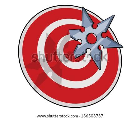 shuriken hitting target - stock vector