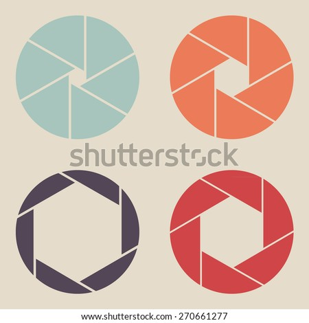 shutter icon set vintage style - stock vector