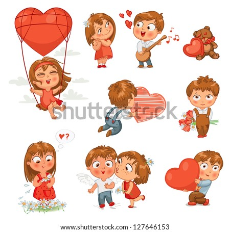 Shy little boy hiding behind a bouquet of flowers, draws with chalk heart, plays banjo and sings serenade, Little girl kissing boy on cheek, wonders for daisy, flying in balloon. Vector illustration - stock vector