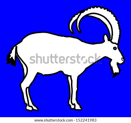 Siberian Ibex Capra sibiric vector, white silhouette isolated on blue background. - stock vector