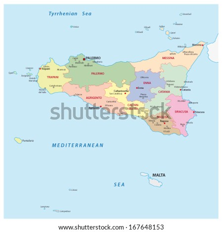 sicily administrative map - stock vector