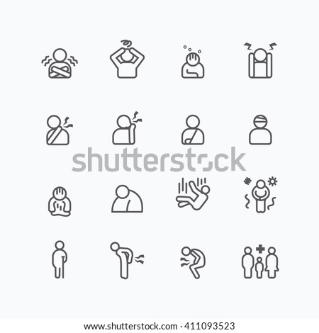 sick and symptoms injuries silhouette icons flat line design vector set - stock vector