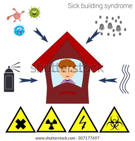 Sick building syndrome. Infographics, vector illustration. The man in the building, bacteria, dust mites, chemicals, moisture. warning signs of chemical, radiological and biological hazards. - stock vector