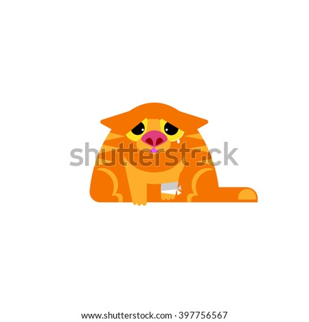 Sick cat flat vector illustration. Veterinary clinic service icon. Pet medicine concept. Orange cat with paw bandage. Crying cat. Ill cat design. Pet clinic logo. Flat Pet character. Cry cat - stock vector