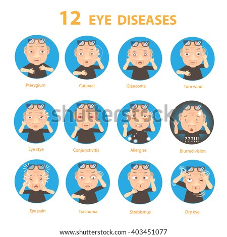Sick Eye Old Man diseases Circle, vector illustration - stock vector
