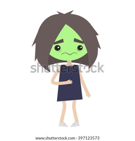 Sick girl with green face vector cartoon illustration - stock vector