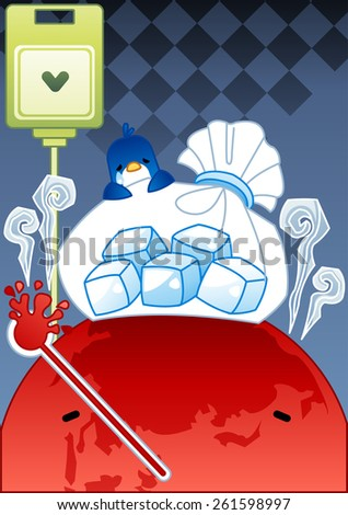 Sick Globe and Sad Animal - a painful red earth suffer from high fever and bursting a thermometer and receive treatment from a cute penguin on blue background with chess patterns : vector illustration - stock vector