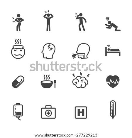sick icons, mono vector symbols - stock vector