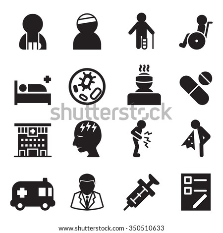 Sick & injury icons set vector illustration - stock vector