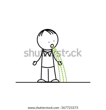 Sick man vomiting on white background - stock vector