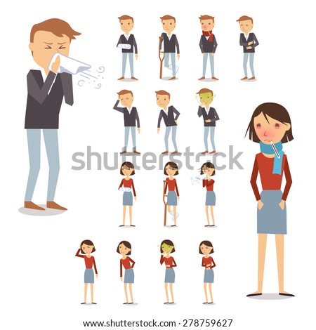 Sick people characters set with men and women coughing blowing sneezing isolated vector illustration - stock vector