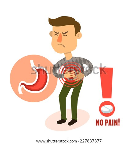 Sick stomach ache male person character with pill vector illustration - stock vector