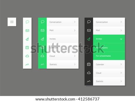 Side Navigation Menu. Vertical vector menu. UI element - stock vector