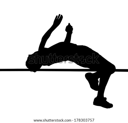 Side Profile of Boy High Jumper Leaping Over Bar Silhouette - stock vector