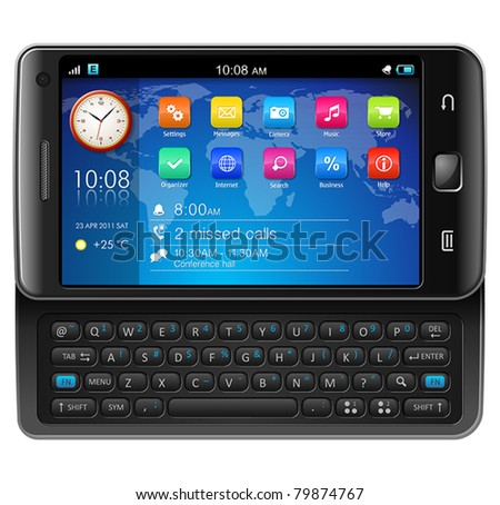 Side slider touchscreen smartphone - Original design - stock vector