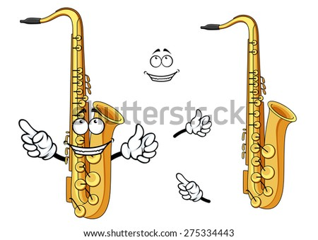 Side view of a happy cartoon saxophone instrument character with a grinning face and waving arms with a second plain variant with no face and separate elements - stock vector