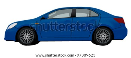 side view of blue car isolated on white background - stock vector
